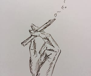 art, black and white, and cigarette image
