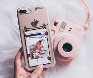 pink, iphone, and polaroid image