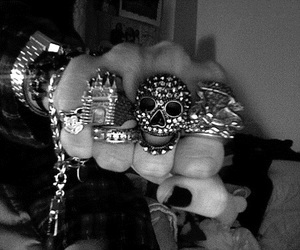 rings, skull, and black and white image