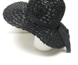 black hat, etsy, and black floppy hat image