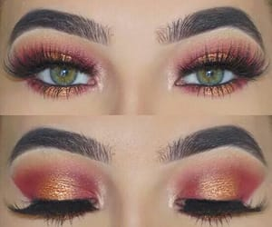 green eyes, make up, and pink shadow image