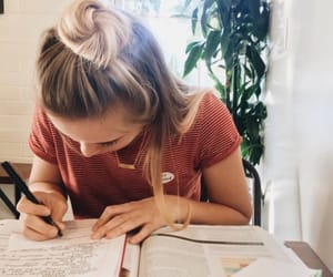 girl, school, and study image