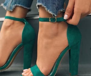 green, heels, and sandals image