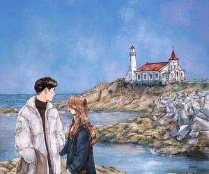 couple, korean, and sea image