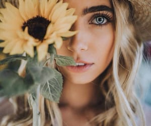 beautiful, hat, and sunflower image