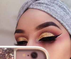 makeup, eyebrows, and gold image