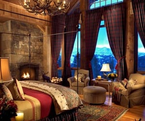 bedroom, decoration, and fireplace image
