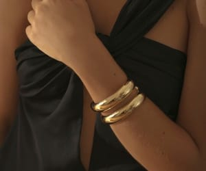bracelet, dress, and gold image