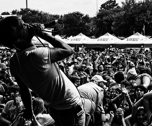black and white, crowd, and people image
