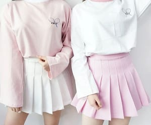 pink, outfit, and white image