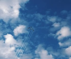 aeroplane, blue, and clouds image