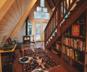 books, cozy, and cabin image