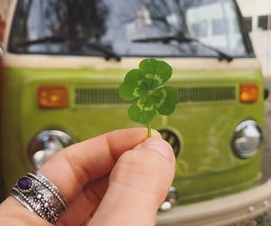 four leaf clover, lucky, and retro image