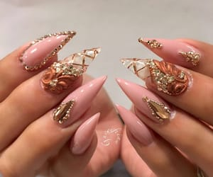 hands, pink, and long nails image
