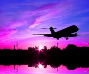 pink, plane, and sky image