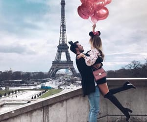 couple, paris, and balloons image