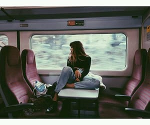 travel, girl, and train image