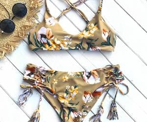 bathing suit, bikini, and floral image