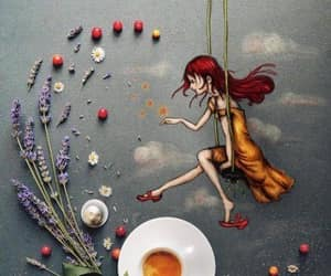 redhead yellow dress and flowers cup of tea image
