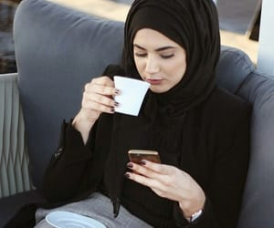 coffee, ستايل, and hijab image
