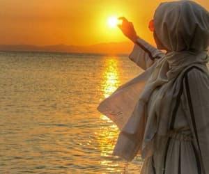 girl, hijab, and sunset image