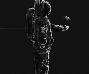 black and white, gif, and space image