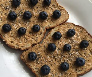 blueberries, peanut butter, and yummy image