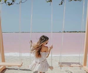 hairstyle, sea beach, and pink ocean image