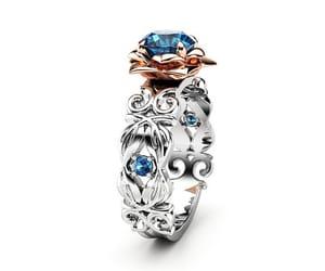 etsy, rosegoldring, and bluediamondring image