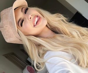 blonde, cap, and fashion image