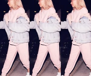 clothes, pink hair, and sweatsuit image