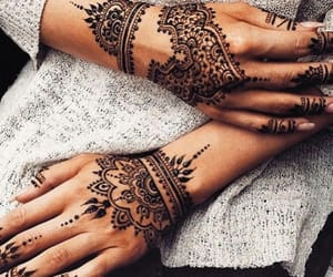 henna, tattoo, and hands image