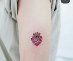 delicate, heart, and red image