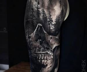 art, realism, and skull image