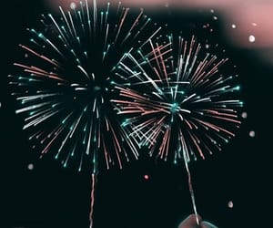 aesthetic, blue, and fireworks image