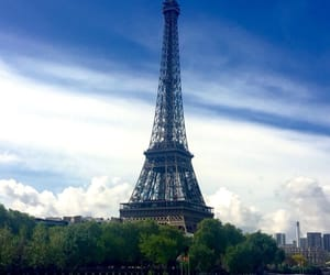 clouds, eiffel tower, and tower image