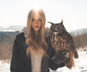 girl, owl, and animal image