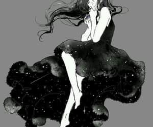 anime girl, stars, and dark image