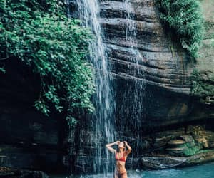 summer, girl, and waterfall image