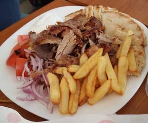 food, greek food, and σουβλακια image