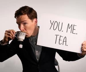 benedict cumberbatch, sherlock, and tea image