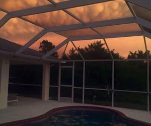 sky, sunset, and orange image