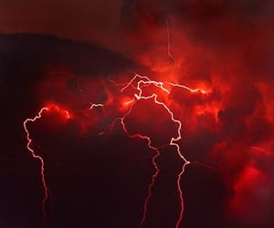 red, aesthetic, and lightning image