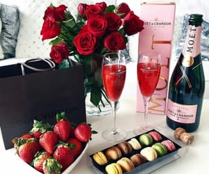 rose, luxury, and strawberry image