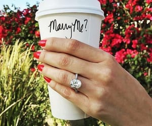 coffee, engaged, and jewerly image