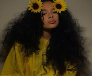 girl, yellow, and sunflower image