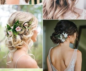 flowers, hair style, and wedding image