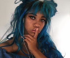 beauty, hairstyle, and blue image