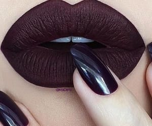 make-up, mac lipstic, and burgundy nails&lipstick image