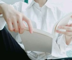 book, hands, and reading image
